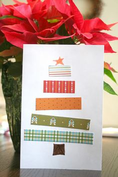 christmas tree cards with extra ribbon! Easy for kids to make!