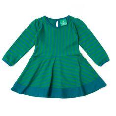 Vores lange ærme 'Stripes Forever' kjole kommer med smukke grønne og blåstriber, lette pufærmer og en smuk perlemorsknap på bagsiden. Nederdelen har et fuld skørt, så den er perfekt til at danse og snurre i. Et par matchende leggins vil virkelig fuldføre sættet.