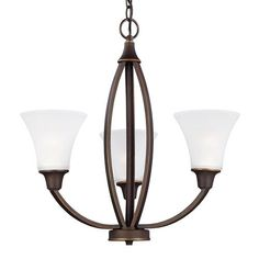 Sea Gull Lighting Metcalf Autumn Bronze Energy Star LED Three Light Chandelier With Satin Etched Glass On SALE