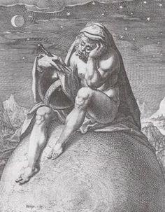 Kosmologische verbeelding van de melancholie door Jacques de Gheyn II, ca.1596.