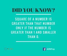 Square of a number is greater than that number only if the number is greater than 1 and smaller than 0. #math #facts #sat #gre #gmat #dubai