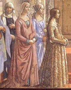 1486 Italy, Florence.  Birth of Mary by Domenico Ghirlandaio [detail]  Ippolita Maria Sforza - on her dress you can see some of the important symbols of the Milanese dynasty of the Visconti-Sforza.