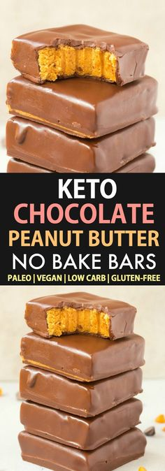 No Bake Keto Chocolate Peanut Butter Bars are a quick, easy and delicious ketogenic dessert recipe with a peanut-free and paleo option- LOADED with peanut butter and chocolate- The ultimate healthy sugar-free keto chocolate dessert! Peanut Butter No Bake, Peanut Butter Chocolate Bars, Peanut Butter Protein, Quick Easy Desserts, Keto Dessert Easy, Dessert Recipes, Quick Recipes, Recipes Dinner, Delicious Recipes