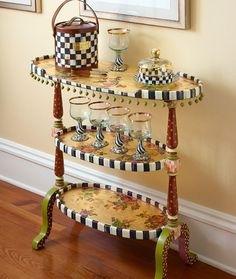 New funky painted furniture mackenzie childs fun 20 Ideas Whimsical Painted Furniture, Painted Chairs, Art Deco Furniture, Hand Painted Furniture, Funky Furniture, Paint Furniture, Repurposed Furniture, Furniture Projects, Furniture Makeover