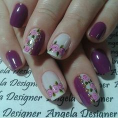 Purple and Cream Nail Art with Free Hand Roses Fancy Nails, Cute Nails, Pretty Nails, Fingernail Designs, Nail Art Designs, Nails Design, Purple Nail Art, Flower Nail Art, Beautiful Nail Art