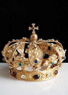 19th Century Gilt Brass Crown with Colored Facet Cut Glass Jewels