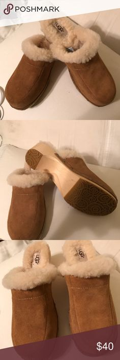 UGG Brown Suede Clogs Very good used condition UGG brand clogs. Wool lined. Very little wear to soles and uppers. They are a re-Posh, but only because they are wood soles and I can't get used to them. Super cute though. Run on the narrow side. UGG Shoes Mules & Clogs