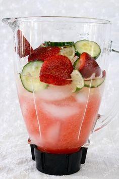 Strawberry Cucumber Lime Margarita Slushy!