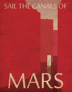 Poster di viaggio planetario retrò di Marte