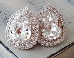 Bridal Earrings, Stud Earrings, Rose Gold Plates, Silver Plate, Cute Jewelry, Bridesmaid Gifts, Wedding Jewelry, Swarovski Crystals, Diamond