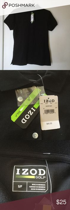 Black IZOD golf polo shirt 96% cotton. 4% spandex.  Black IZOD golf polo shirt Izod Tops