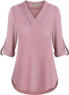 online shopping for Moyabo Womens Cuffed Sleeve Chiffon Triple Pleat V Neck Casual Blouse Shirt Tops from top store. See new offer for Moyabo Womens Cuffed Sleeve Chiffon Triple Pleat V Neck Casual Blouse Shirt Tops Smart Casual Wear, Casual Wear Women, Casual Tops For Women, Shirts & Tops, Shirt Blouses, Tops Online Shopping, Street Style Outfits, Fall Shirts, Blouse Designs