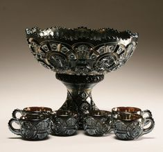 Carnival glass punch bowl with matching cups; Bowl on stand: 9 Antique Dishes, Antique Glass, Dark Punk, Cut Glass, Glass Art, Art Nouveau, Art Deco, Black Amethyst, Punch Bowl Set