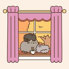 Pusheen sitting by a window. So cute! Gato Pusheen, Pusheen Love, Pusheen Stormy, Nyan Cat, Kawaii Cat, Kawaii Shop, Gif Animé, Cat Drawing, Cute Illustration
