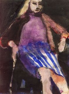 Diebenkorn / Seated Woman in a Striped Skirt