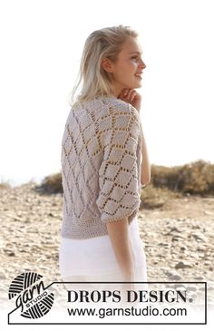 "Knitted DROPS bolero with lace pattern in ""Big Merino"". Size: S - XXXL. ~ DROPS Design"