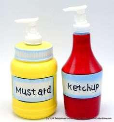 It's time for summer--which means grilling, cookouts and picnics!  Ceramic Pier 1 Yellow Mustard & Red Ketchup Set Pump Condiment Jars Picnic BBQ #Pier1Imports, #MustardKetchupCondimentJars