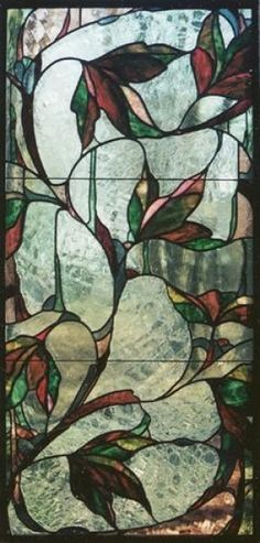 Leaves Pink and Green, leaded stained glass hanging panel.  Osler-Kurki Studio