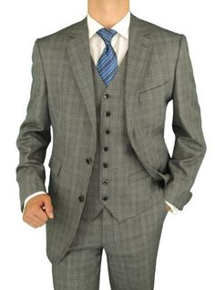 Bianco Brioni Orange Label Made in Italy Wool / Silk 4 Piece Vested Mens Suit Jacket Pants Vest Extra Pants Windowpane Gray Black (38 Regular) Bianco Brioni,http://www.amazon.com/dp/B00AA64LWM/ref=cm_sw_r_pi_dp_KDf5rb0X70V0NEYX