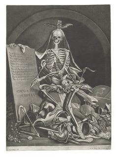 JOHANN JACOB RIDINGER (CIRCA 1736-1784) AFTER JOHANN ELIAS RIDINGER (1698-1767) The Rule of Death ('OMNIA MIHI SUBDITA') mezzotint, circa 1760, on laid paper, with a large proprietary Letters watermark, a fine impression of this important and very rare print, with thread margins on three sides, trimmed just inside the platemark below, a short tear at the lower sheet edge, tipped down to a support sheet at the corners, generally in very good condition Sheet 575 x 415 mm.