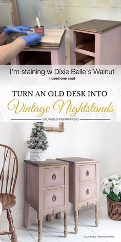 How to turn an old desk into vintage painted nightstands on a dime! These painted and stained night tables look amazing. Full video tutorial on the furniture redo Turn An Old Desk into Vintage Nightstands Painted Night Stands, Furniture Diy, Old Desks, Vintage Nightstand, Diy Furniture, Furniture Renovation, Diy Furniture Redo, Diy Furniture Bedroom, Repurposed Furniture
