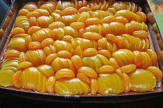 Pudding - Pfirsichkuchen vom Blech
