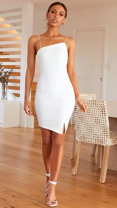 - Off center leg slit - Thin spaghetti straps - Invisible zip at back - Cotton/Polyester Material - cotton, Polyester Bust Waist Length White Mini Dress, Legs, Spaghetti Straps, Cotton, Politics, Zip, Clothes, Dresses, Vestidos
