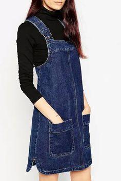 Blue Zippered Denim Suspender Skirt