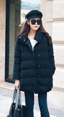 Fashiontroy Hipster & indie long sleeves black pink orange double breasted cotton blend padded coat