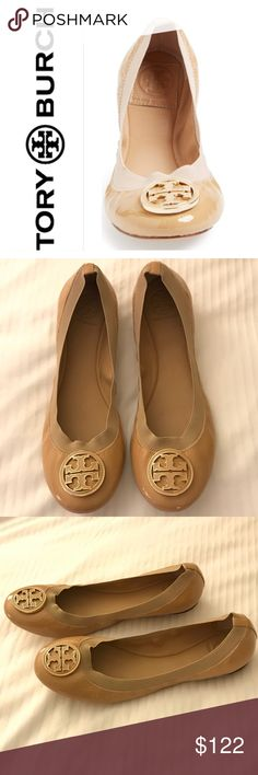 Tory Burch 'Caroline' Ballerina Flats A broad elastic topline ensures a secure and comfortable fit for this classic leather ballerina flat. A bold, enamel-inlaid logo medallion tops the rounded toe.  Tory Burch designs have been making a splash, always embodying the designer's own inimitable style and sensibility. Leather and textile or leather upper/leather lining and sole. Shoes are gently used. The only sign if use is on the bottom of sole. Only worn once or twice.  🚫Trades please Item…