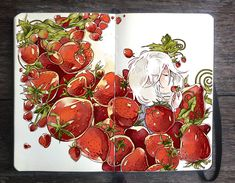 : Strawberry Avalanche by Picolo-kun on DeviantArt Weird Drawings, Amazing Drawings, Amazing Art, Art Drawings, Art And Illustration, Illustrations, Sketchbook Inspiration, Art Sketchbook, Strawberry Art