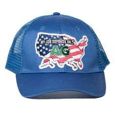 8de85531df0 Blue My Job Depends On AG USA Hat- Snapback Trucker Hat