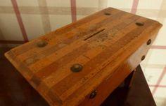 Vintage-table-money-box Money Box, Vintage Table, Arts And Crafts, The Originals, Antiques, Furniture, Ebay, Home Decor, Homemade Home Decor