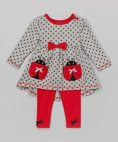 Look what I found on #zulily! Gray Ladybug Tunic & Leggings - Infant, Toddler & Girls #zulilyfinds