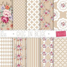 "Shabby chic digital paper : ""Chic in Beige"" floral digital paper with shabby roses on cream, beige background, decoupage paper, roses"