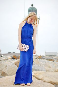 Emily Fanning of Shell Chic'd in our favorite bold blue maxi. #MaxiDress #SummerStyle #Lighthouse