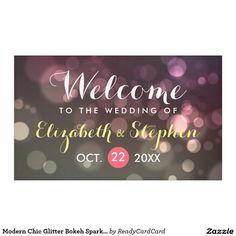 Modern Chic Glitter Bokeh Sparkle Wedding Banner