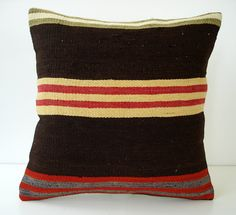 Sukan / SOFT Hand Woven - Turkish Striped Kilim Pillow Cover - 16x16 etsy