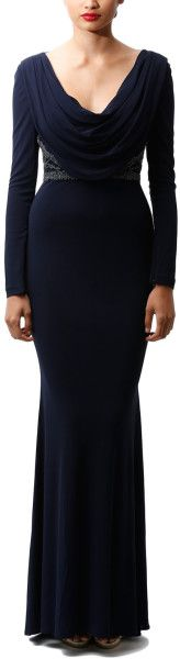 Long Sleeve Beaded Cowl Neck Gown - Lyst     jaglady