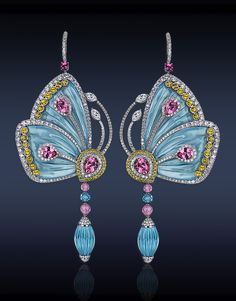 Jacob  Company Papillon Collection. Earrings Blue Topaz, Rose Tourmaline, Pink…