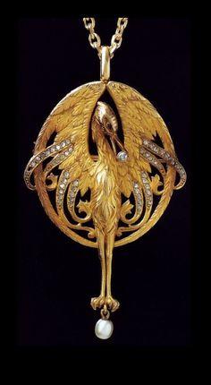 Lluis Masriera - Art Nouveau Colgante. Oro, perlas, diamantes #finejewelry