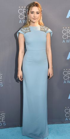 Critics' Choice Awards: Red Carpet Looks You Need to See | People - Saoirse Ronan in a light blue column dress