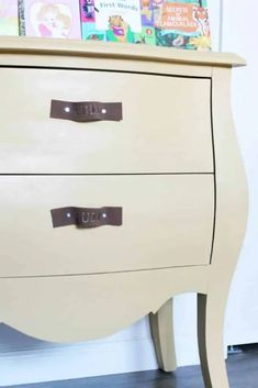 How To Get Free Leather For Crafts (and 14 Leather Craft Ideas) Diy Dresser Makeover, Diy Nightstand, Furniture Makeover, Leather Diy Crafts, Leather Craft, Leather Furniture, Cool Furniture, Painted Furniture, Diy Leather Drawer Pulls