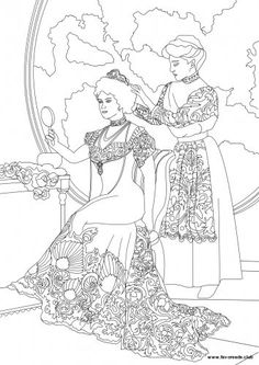 victorian lady and her maid coloring page