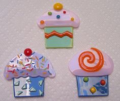Fused Glass Fridge Office Magnets Cupcakes Muffins by shards57, $10.00