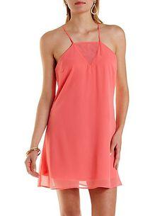Strappy Open Back Shift Dress: Charlotte Russe #dress #spring