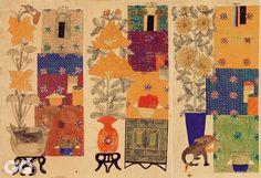 <책거리>, 6폭 병풍 중 2, 4, 5폭, 19세기 후반~20세기 전반, 종이에 채색, 각 41.2×23.6cm, 선문대학교박물관.