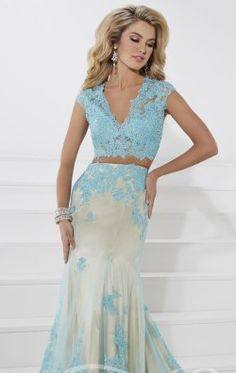 Lace Two Piece Gown by Tiffany Designs 16103