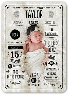 Birth Announcement: Grand Arrival, Rounded Corners, Black