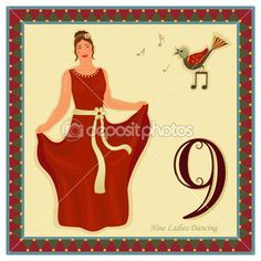 The 12 Days of Christmas - Day - Nine ladies dancing Vector illustration saved as EPS AI no effects, easy print. Twelve Days Of Christmas, Christmas Makes, All Things Christmas, Christmas Time, Christmas Ideas, Christmas Countdown, Christmas Carol, Christmas Printables, Christmas Crafts